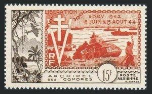 Comoro Isls C4,hinged.Mi 36. Liberation of France,10th Ann.1945.Tank,Plane,Ships