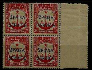Pakistan O68 MNH bl.of 4,ovpt.error