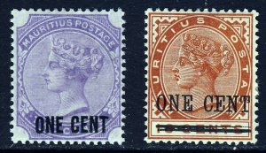 MAURITIUS Queen Victoria 1893 Both One Cent Surcharges SG 123 & SG 124 MINT