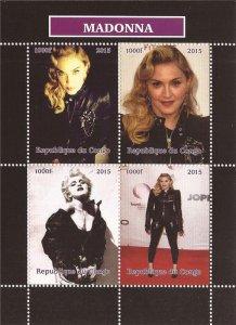 Congo 2015 Madonna Singer Dancer Hollywood Actress Music 4v Mint S/S. (#16)