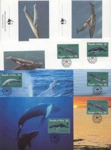 Palau 8 FDC/cards WWF/Whales 1983