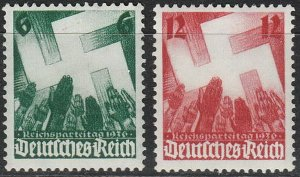 Stamp Germany Mi 632-3 Sc 479-80 1936 Reich Emblem Nuremberg Party Rally MH