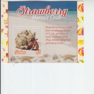 2019 Palau Strawbwrry Hermit Crab SS (Scott NA) MNH