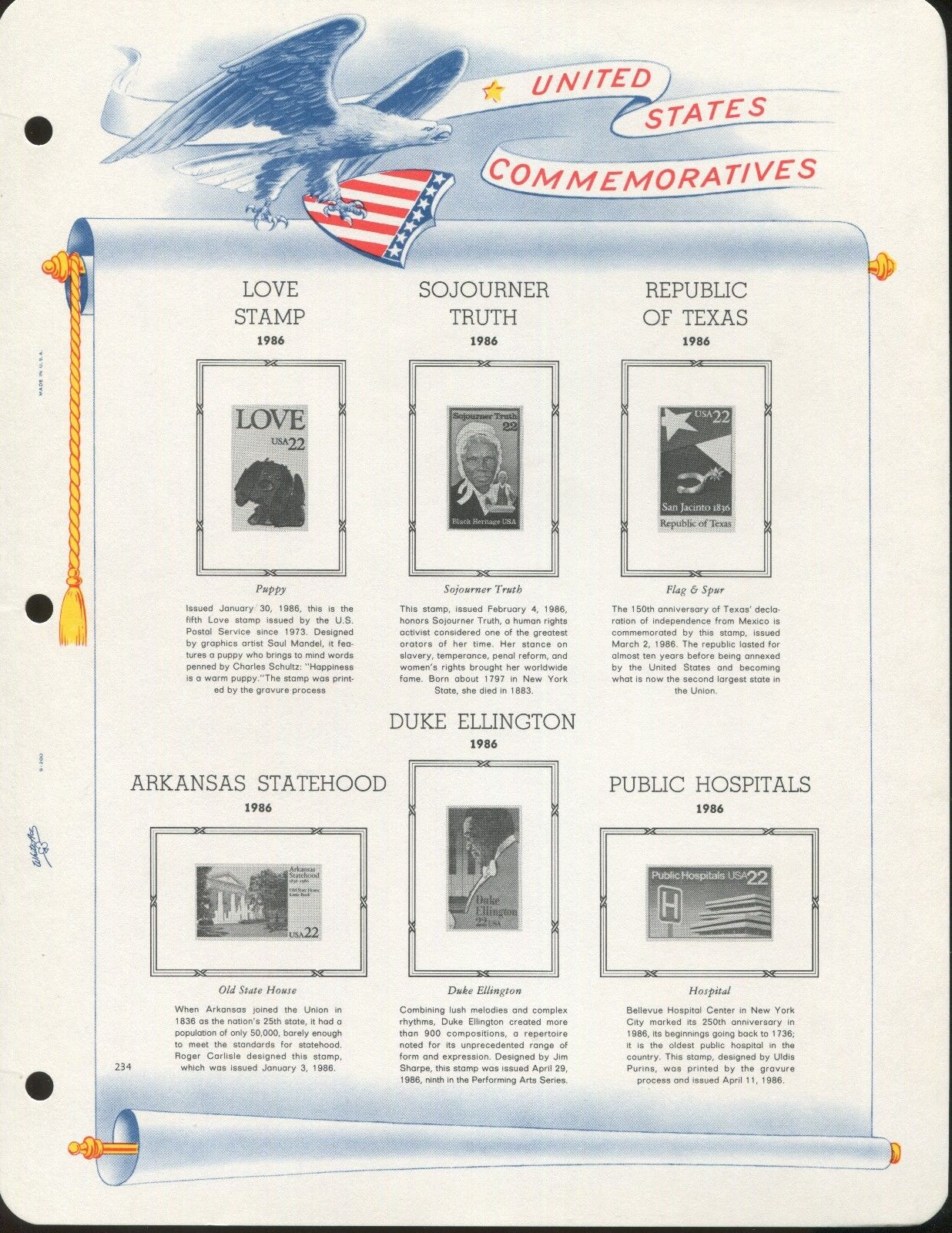 1986 White Ace United States Commemorative Historical Stamp