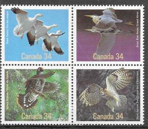 Canada #1088a Birds block of 4(MNH) CV $2.80