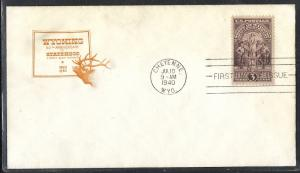 US #897 7 Wyoming HOF cachet unaddressed fdc