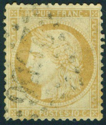 FRANCE Scott 54 10c 1870 Ceres Bordeaux issue  CV $50