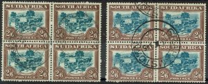 SOUTH AFRICA 1930 OX WAGON 2/6 BOTH COLOURS BLOCKS USED ROTOGRAVURE PRINTING