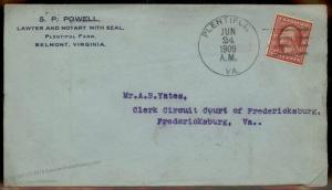 Virginia 1909 Plentiful VA Cancel DPO Helbock R6 Open 1906-1910 Cover 92323