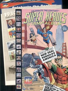 CELEBRATE THE CENTURY SUPER HEROES STAMP ALBUM, BOOK IV 1930-1939 WITH STAMPS