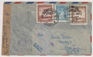 CHILE 1950 CENSORED AIR COVER TO VIENNA 7.70p RATE VF