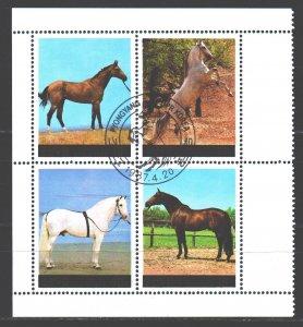 North Korea. 1987. sq. 2837-40. Horses. USED.