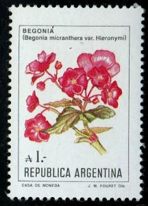 Argentina #1524 MNH Begonia Flower issued in 1985.