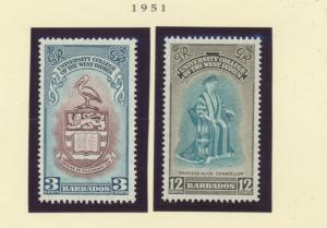 Barbados Scott #228 To 229, Two Stamp University College of the West Indies, ...