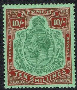 BERMUDA 1924 KGV 10/- WMK MULTI SCRIPT CA