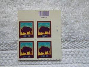 SC # 3468 21 CENT BUFFLO SELF ADHESIVE PL. BLOCK ( MNH )(
