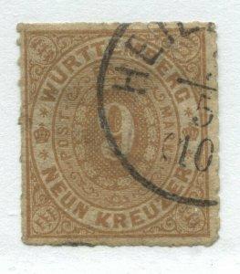 Wurttemberg 1873 9 kreuzer light brown used