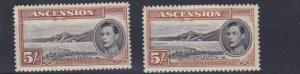 ASCENSION  1938 - 53    S G 46+ 46A  2 X 5/-  VALUES  MH CAT £135