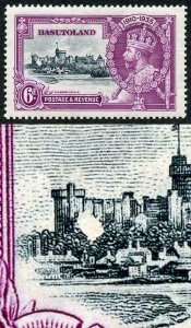 Basutoland 1935 Silver Jubilee 6d Variety Confetti Flaw on Brunswick Tower M/M