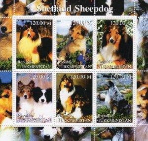 Turkmenistan 2000 DOGS SHETLAND SHEEPDOG  Sheetlet (6) MNH