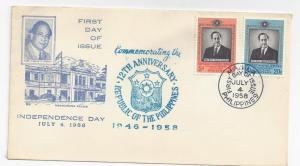 Philippines FDC 1958 Independence First Day Cover Sc 644 645