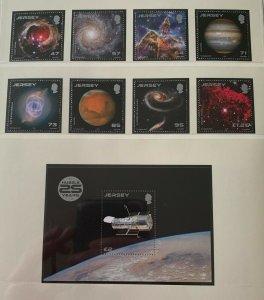 JE44) Jersey 2015 Space Hubble Telescope set of 8 & M/S MUH
