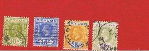 Ceylon #205-208  VF used  King George V  Free S/H