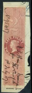 GREAT BRITAIN 1872 QV 2sh PERF. LIFE POLICY REVENUE on Piece Used