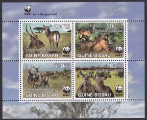 Guinea-Bissau WWF Defassa Waterbuck block 2*2 with WWF Logo MI#3919-3922