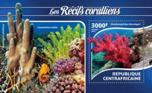 CENTRAFRICAINE 2015 SHEET CORAL MARINE LIFE