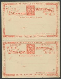 COLOMBIA UPU 1881 HG 5 MINT 2C DOUBLE CARD RED ON CREAM AS SHOWN