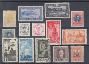 Romania Sc 224/3NRAJ1 MLH. 1911-45 issues, 14 different early singles, F-VF