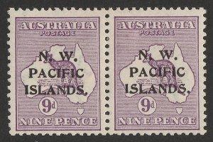 NEW GUINEA - NWPI 1915 Kangaroo 9d , 1st wmk, pair substituted types a-c. RARE!