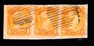 CANADA STAMP Queen Victoria  1C STRIP OF 3 USED STAMPS ON PAPER