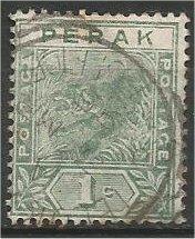 PERAK, 1892, used 1c, Tiger. Scott 42