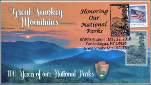 2016, ROPEX, National Parks, Smokey Mountains, Pictorial, 100 year Anniv, 16-118