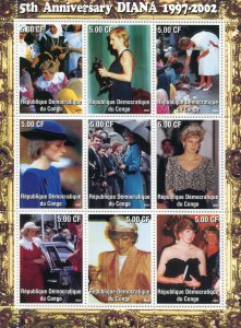 Congo 2002 PRINCESS DIANA Sheet Perforated Mint (NH)