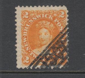 New Brunswick Sc 7 used 1863 2c orange Queen Victoria definitive, F-VF