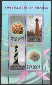 Djibouti MNH S/S Lighthouses & Seashells 2009