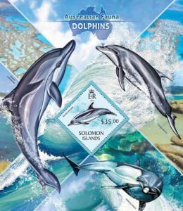 SOLOMON ISLANDS 2013 SHEET DOLPHINS MARINE LIFE slm13415b