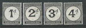 Northern Rhodesia # J1-J4  Postage Dues  (4)  Unused VLH