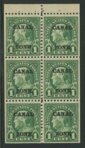 CANAL ZONE #71e 1c BOOKLET PANE VF OG NH WITH SLIGHT TROPICAL GUM BV1956