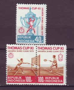 J25065 JLstamps 1979 indonesia set mnh #1042-4 sports