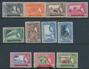 1957 Malaya Malacca Set of 11 SG 39-49 MUH