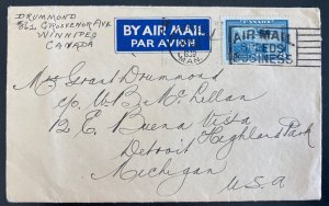 1939 Winnipeg Canada Airmail Cover To Detroit MI USA