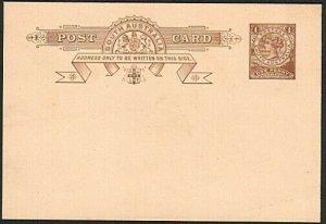 SOUTH AUSTRALIA QV 1d postcard unused......................................75414