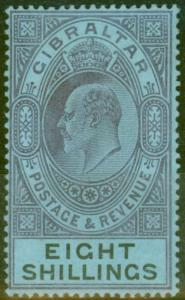 Gibraltar 1903 8s Dull Purple & Black-Blue SG54 Fine & Fresh Lightly Mtd Mint (2