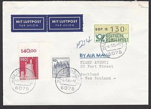 GERMANY 1985 cover to New Zealand - nice franking with 1.30 Frama.........29797a