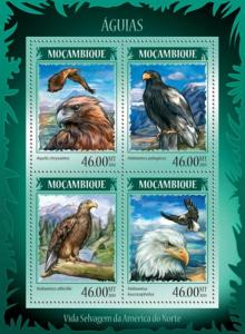 Mozambique MNH S/S Eagles 2014 4 Stamps