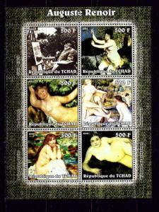 Chad 2002 Auguste Renoir mini-sheet of 6 NH